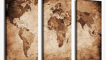Large World Map Canvas ArtVintage Map Poster Printed On CanvasDual - Vintage world map on wood