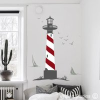 Lighthouse Seagulls Boats - Wallart Studios