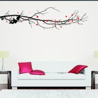 Large Tree Branch With Leaves Wall Sticker - Wall Chimp UK.