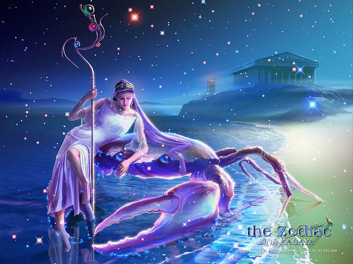 The Zodiac : Kagaya Fantasy Art   - Cancer - Kagaya  Zodiac Wallpaper 1600*1200  4