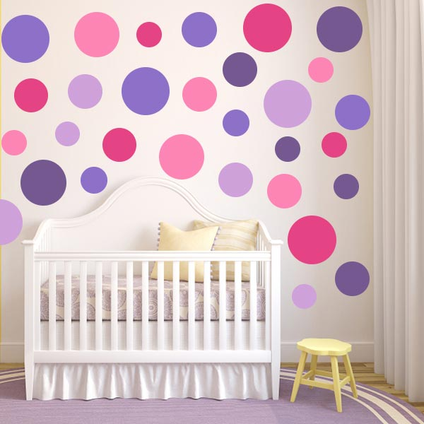 Girl Nursery With Wallpaper Pink Dot Wall Decals Purple Polka Dot Wall Decals