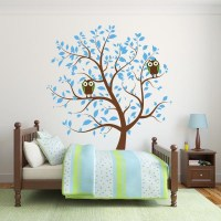 Blue Nursery Tree with Owls Wall Decal | Wall Decal World