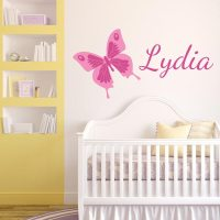 Pink Printed Butterfly with Name Wall Decal | Wall Decal World