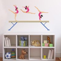 Gymnasts on Beam Wall Decal | Wall Decal World