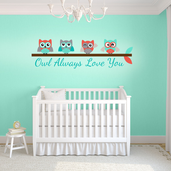 turquoise and coral owl always love you wall decal wall decal world