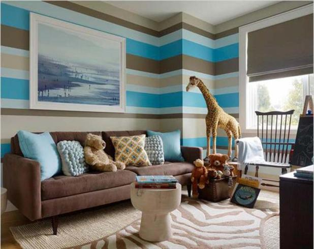 Joyful Living Room Wall Decor With Stripes Assorted Colors