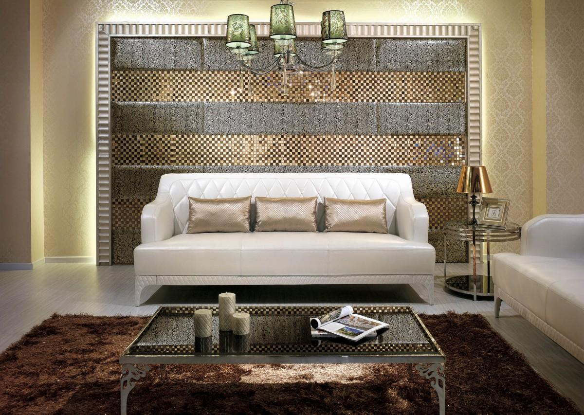 Terrific Living Room Wall Decor With Sparkling Tiles