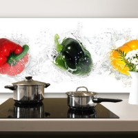 Splashing Peppers - Panorama - Kitchen Splashback
