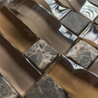 Curved Bamboo Basket  Glass Mosaic Kitchen Backsplash Tile
