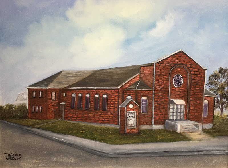 An oil painting of a sturdy red brick building.