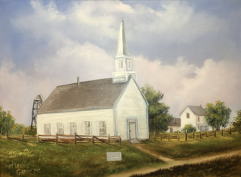 Oil painting of a white wood frame church with a tall white steeple.