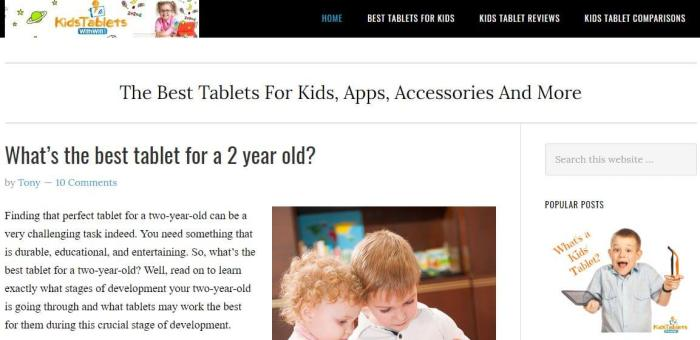 KidsTabletswithWiFi -Amazon Affiliate Website Example
