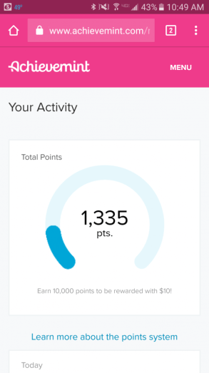 How little of points I have earned with the Achievement App. Photo Courtesy of Achievement.