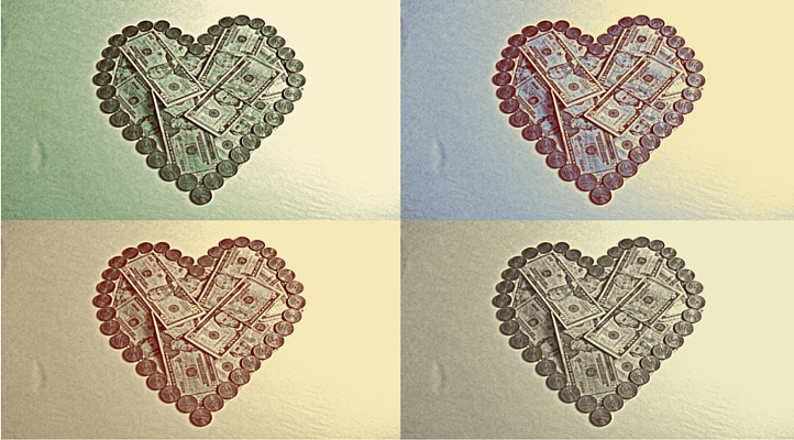 4 Hearts made of money.