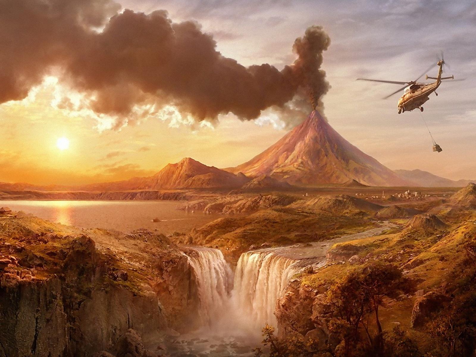 Hello Kitty Fall Wallpaper Fond D Ecran Eruption Volcanique Wallpaper