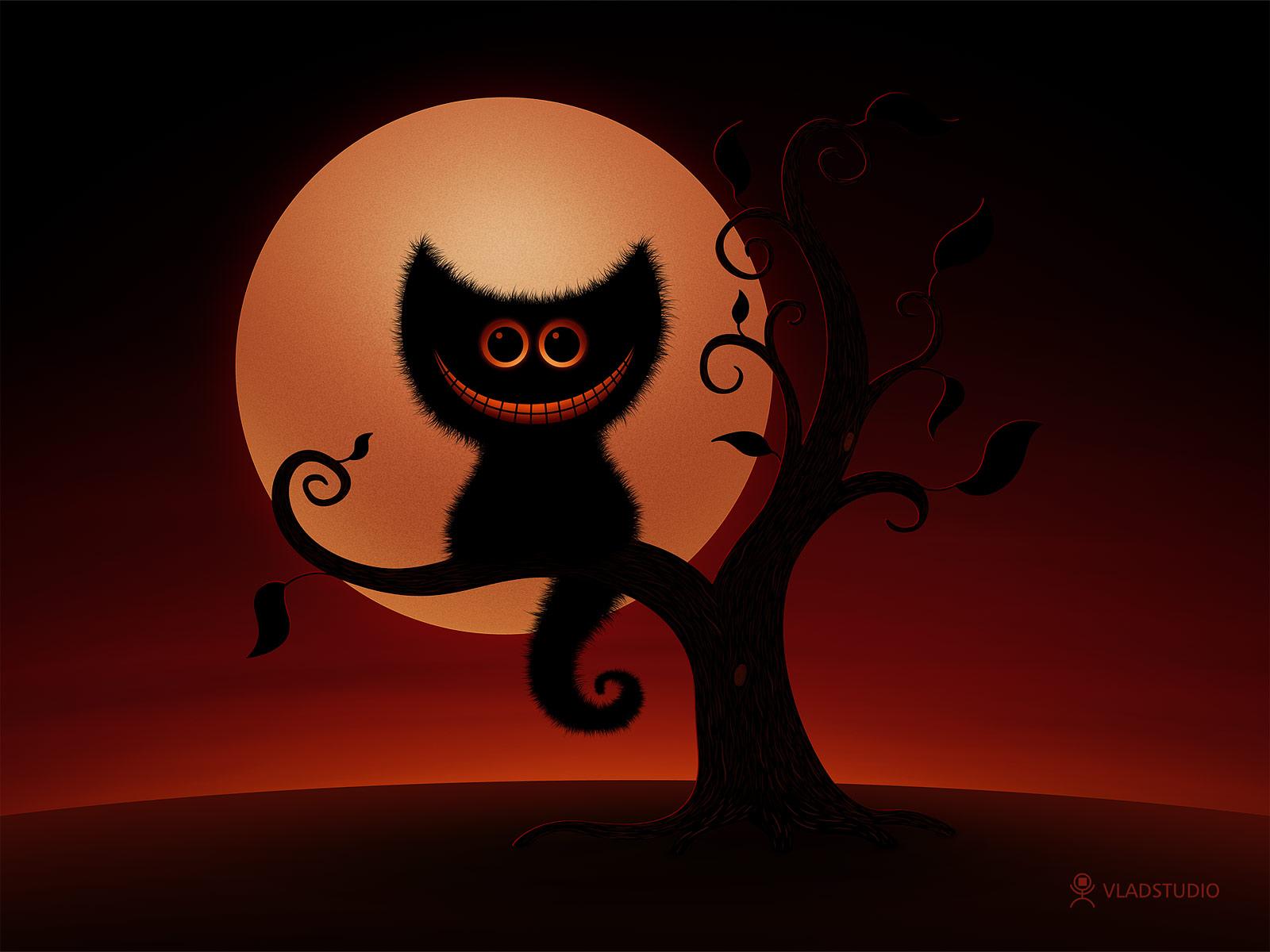 Fall Themed Wallpapers Cartoon Fond D Ecran Chat Nuit D Halloween Wallpaper