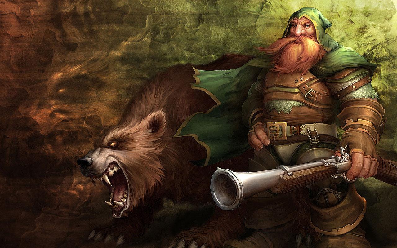 Fond decran World of Warcraft Nain et Ours  Wallpaper