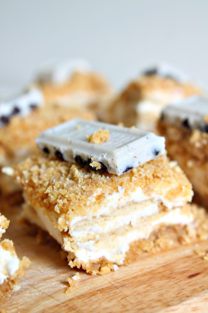 Graham Cracker Crumb Cheesecake Bars with Golden Oreos 13--060815