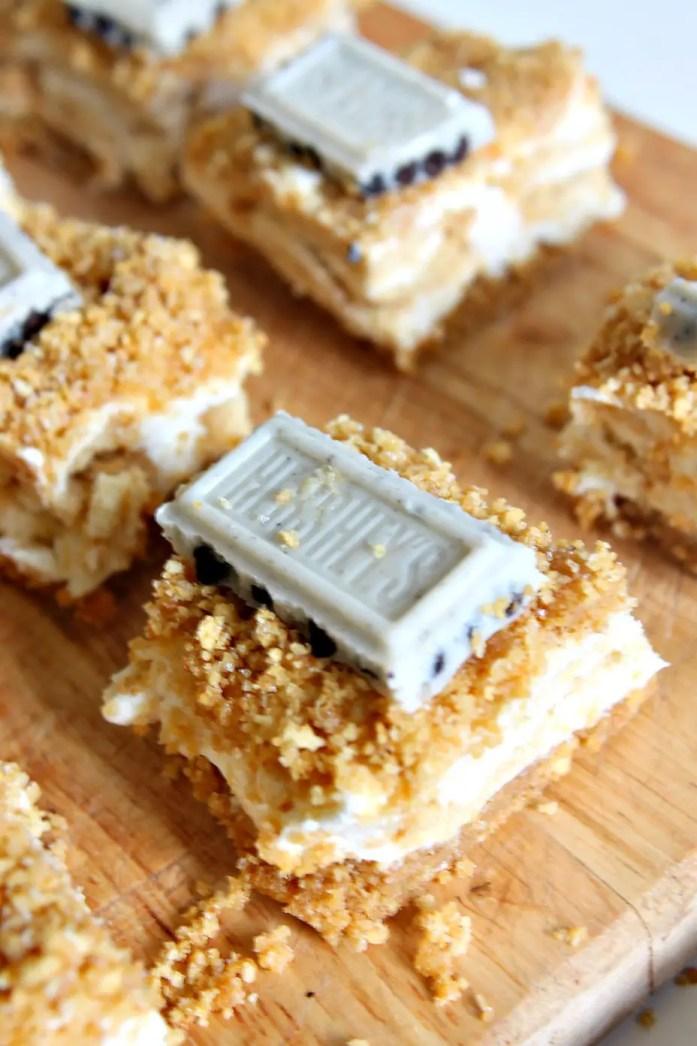 Graham Cracker Crumb Cheesecake Bars with Golden Oreos 9--060815