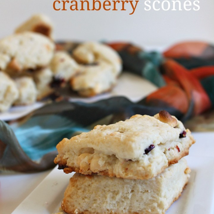 Fluffy White Chocolate Cranberry Scones