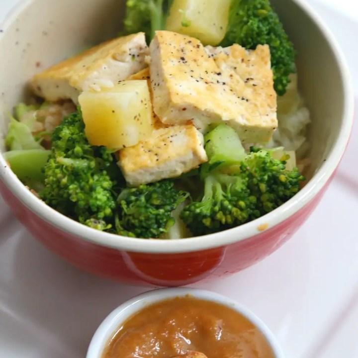 Tofu Pineapple Veggie Rice Bowl with Tangy Asian Peanut Sauce