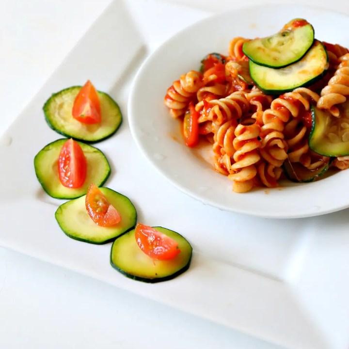 Zucchini Tomato Marinara Pasta with #OXO
