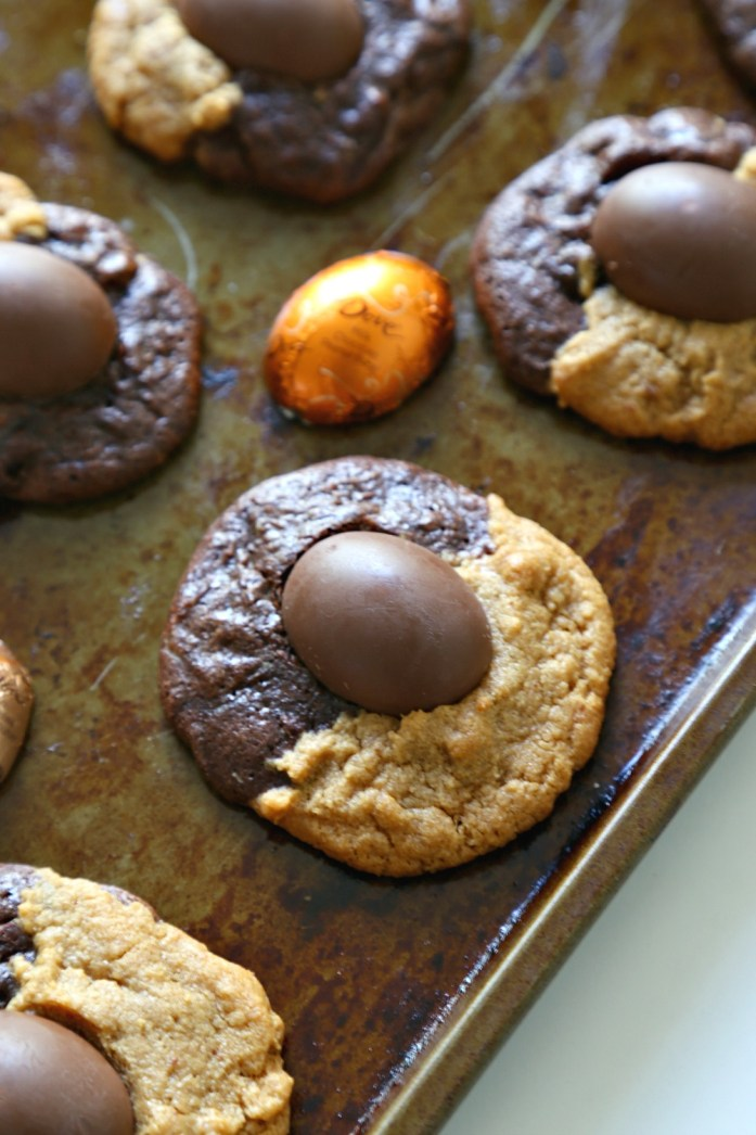 Peanut Butter Chocolate Swirl Cookies with Easter PB Eggs 10--030616