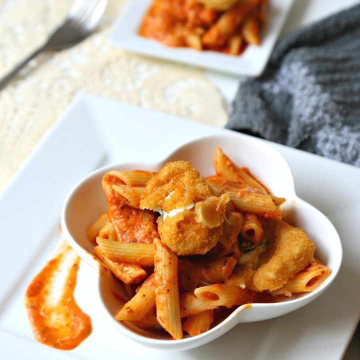 Creamy Tomato Penne Pasta with Jalapeno Poppers