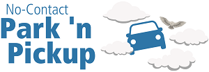 No-Contact Park n' Pickup logo, a car and bird flying through clouds