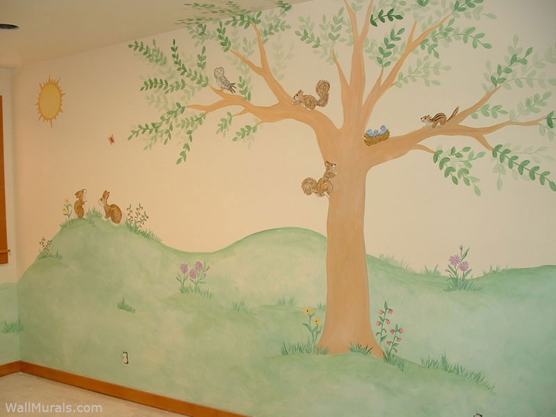 Tree Wall Murals  50 Handpainted Tree Wall Mural