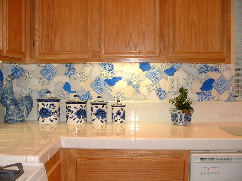 kitchen backsplash ideas tiffany blue accessories murals - hand-painted wall borders