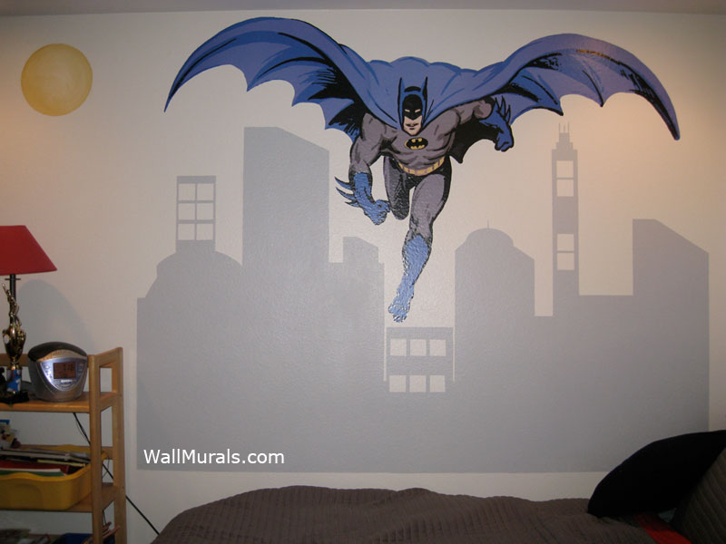 Batman Wall Mural With Painted CityscapeWall Murals By Colette