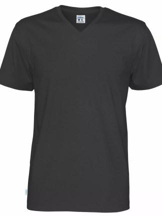 V neck T-skjorte herre - sort