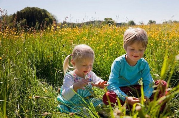Two children playing in a field of flowers