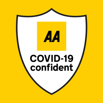 Badege for the AA Covid-19 Confient accreditation yellow with white inset for Wallops Wood Cottages Self catering