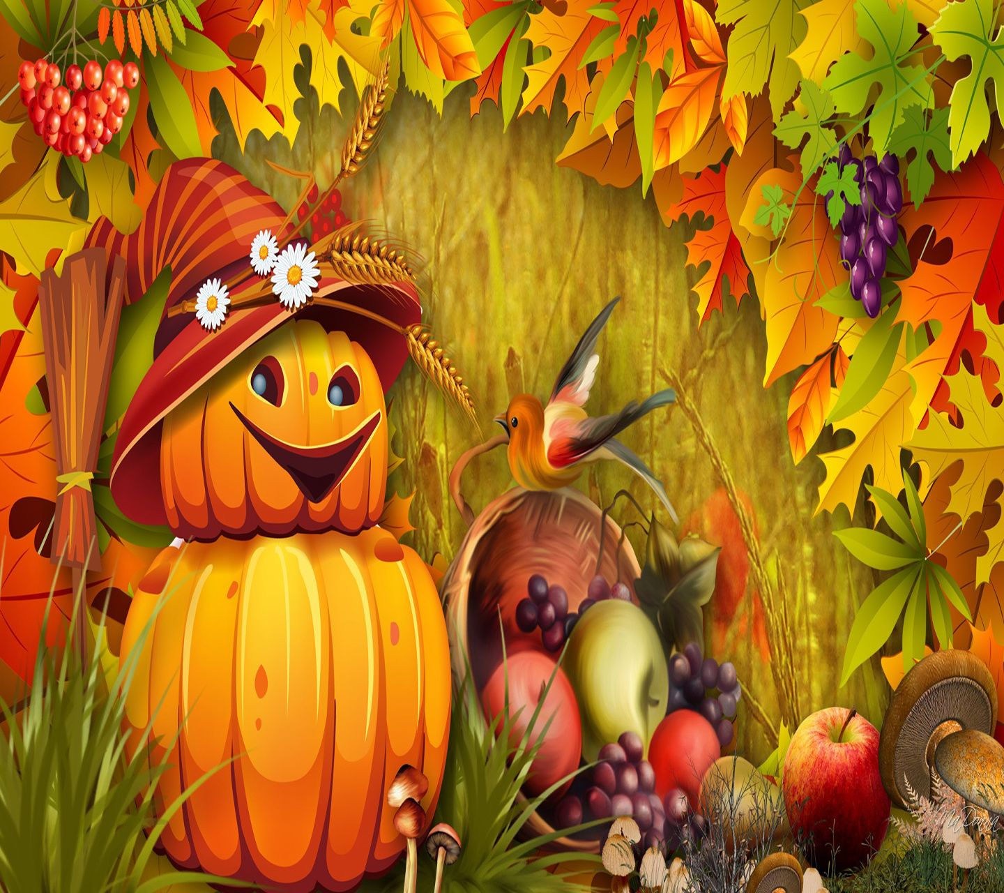 Fall Scenes Wallpaper With Pumpkins 1440x1280 Mobile Phone Wallpapers Download 23