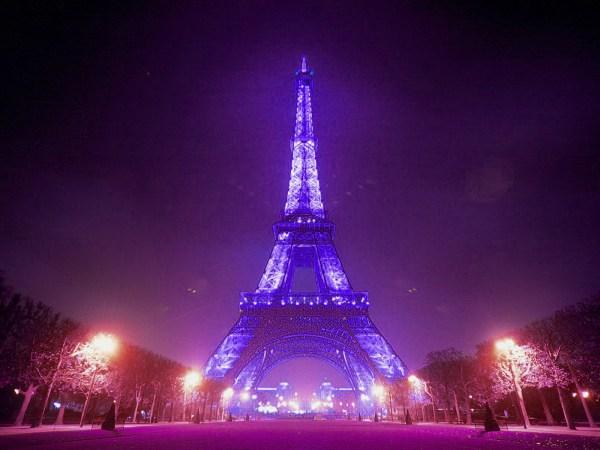 Paris Eiffel Tower Purple Background