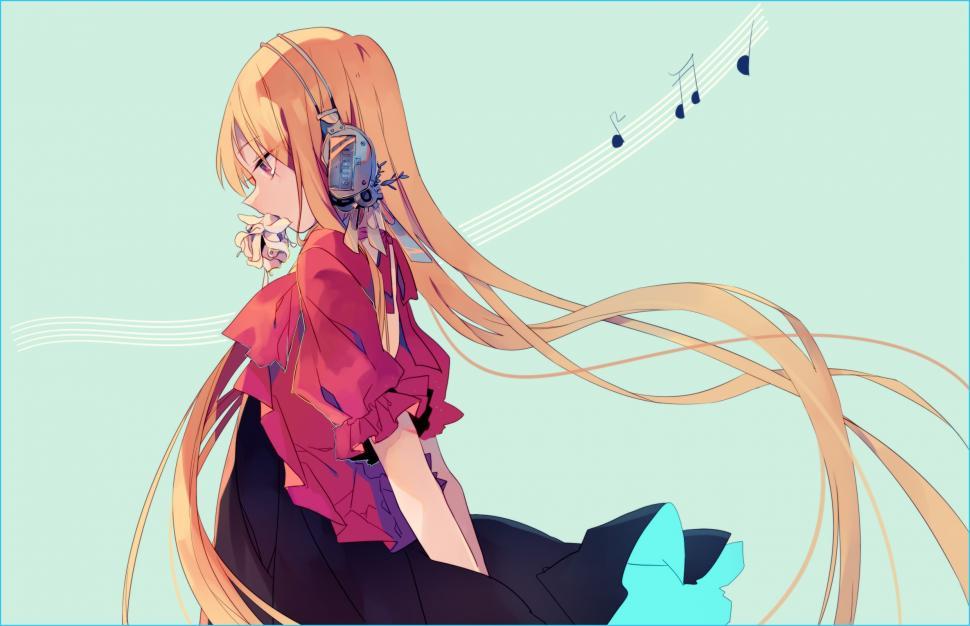 Hd Wallpaper Korean Cute Girl Anime Girls Headphones Blonde Music Wallpaper Anime