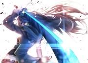 anime girls long hair sword