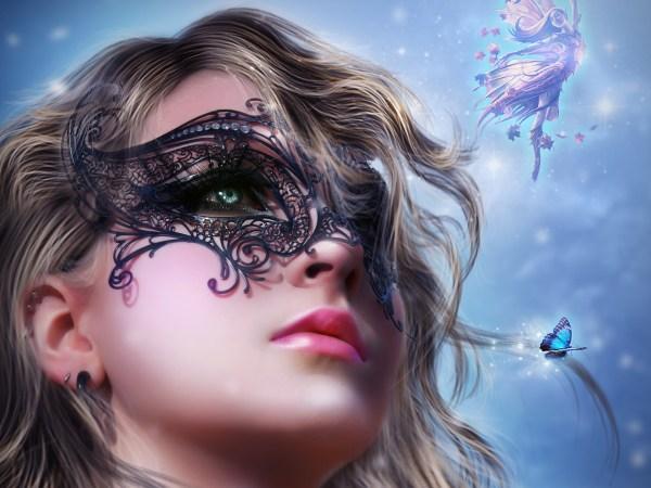 Art Fantasy Girl Face Mask Fairy Wallpaper Girls