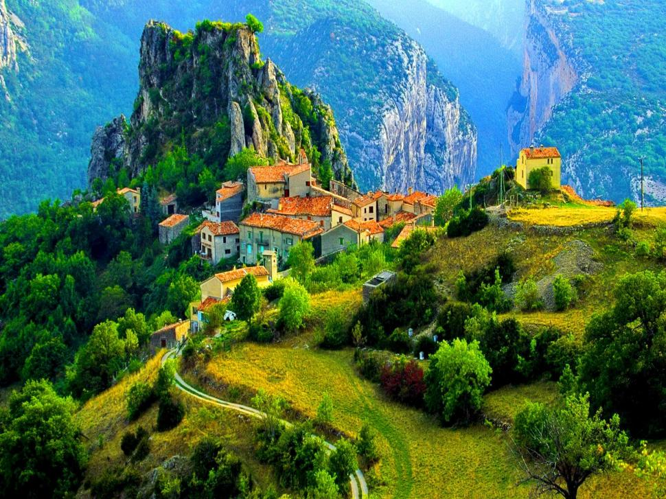 Great Falls Wallpapers Hd Widescreen Village In High Mountains Wallpaper Nature And Landscape
