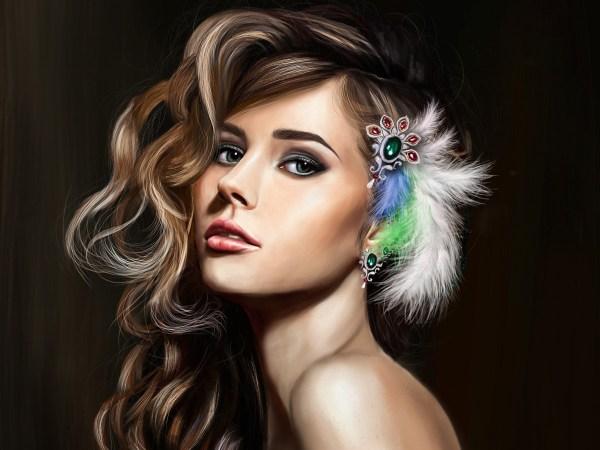 Art Fantasy Girl Beautiful Face Makeup Hair Feathers