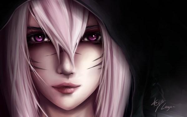 Black and White Hair Anime Girl with Hood