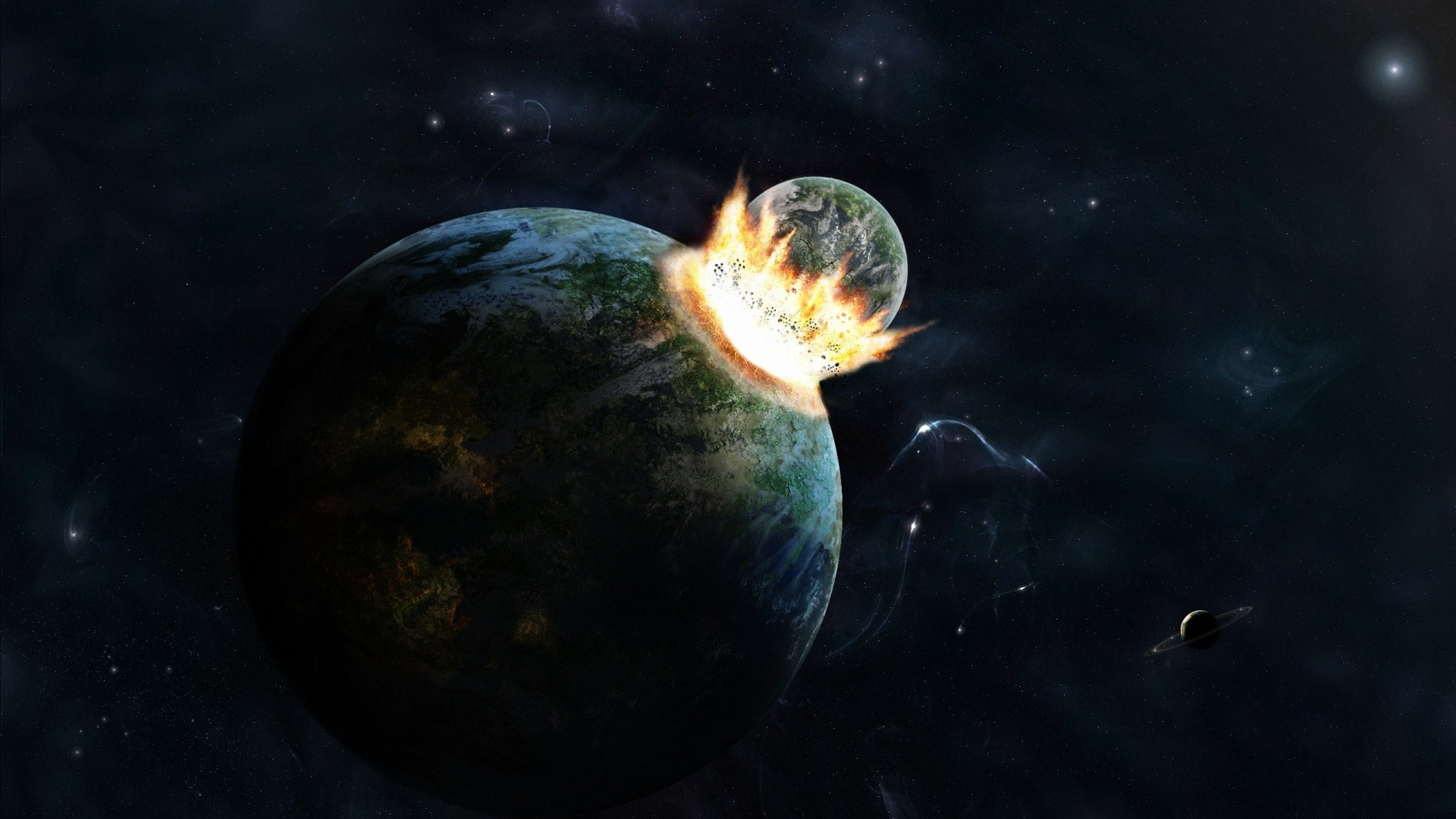 Space Universe Abstract Planets Earth Crashing Fantasy Wallpaper Space Wallpaper Better