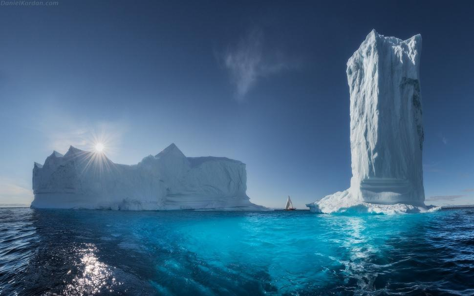Dslr Camera With Girl Wallpaper Landscape Greenland Ice Sea Sun Rays Blue Tower