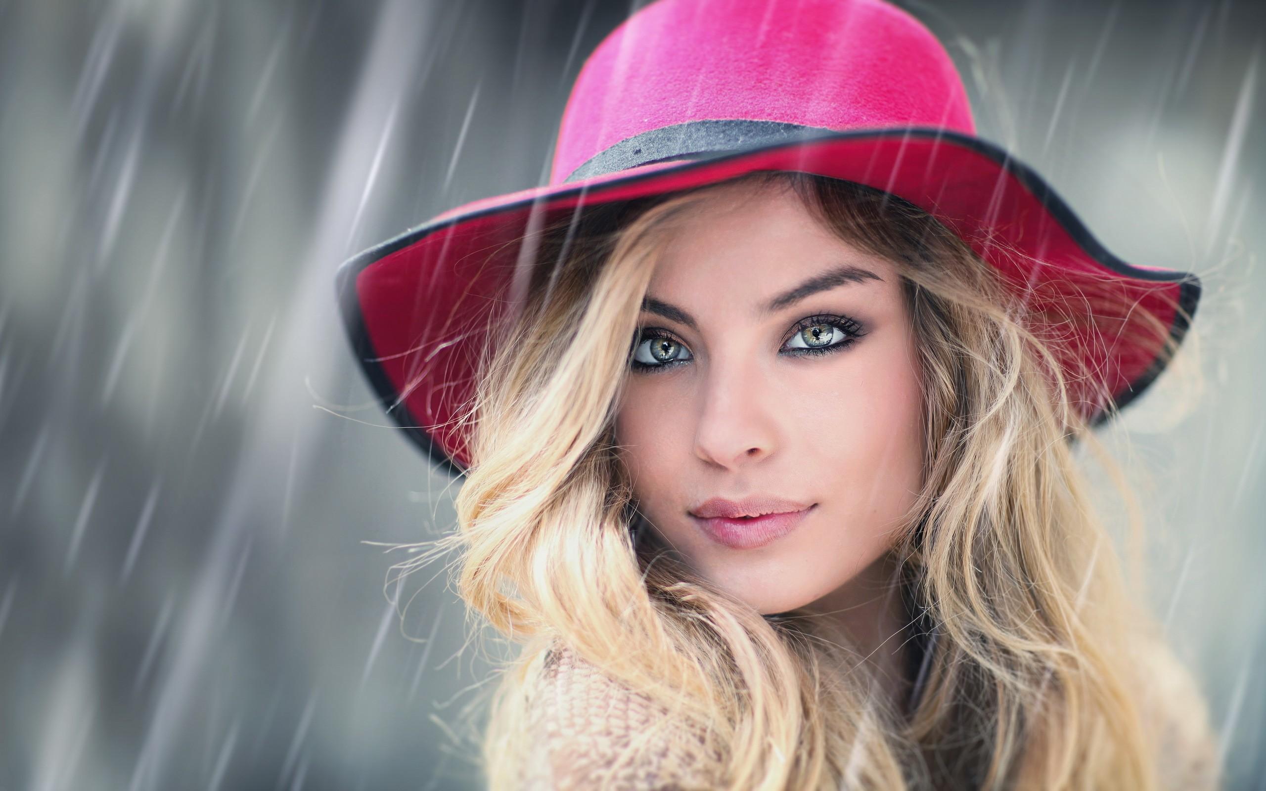Women Hat Long Hair Blonde Rain Looking At Viewer