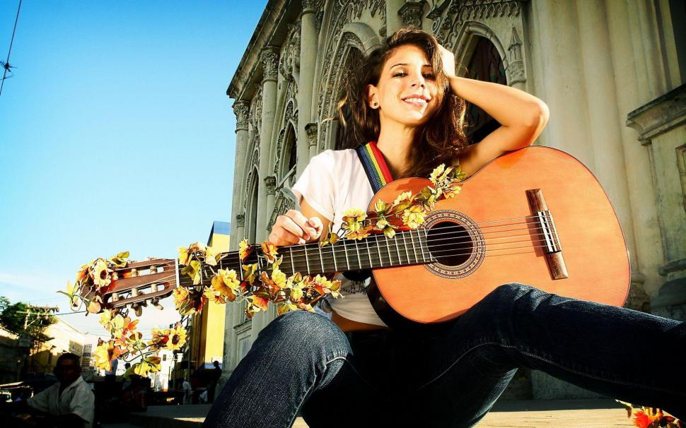 Beautiful Girl With Guitar Hd Wallpapers Beautiful Brunette With A Guitar Wallpaper Travel And
