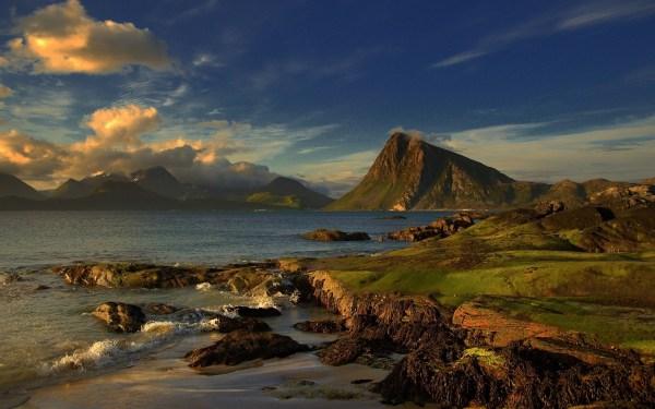 Coast Ocean Landscape Clouds Mountains Beach Hd Wallpaper Nature
