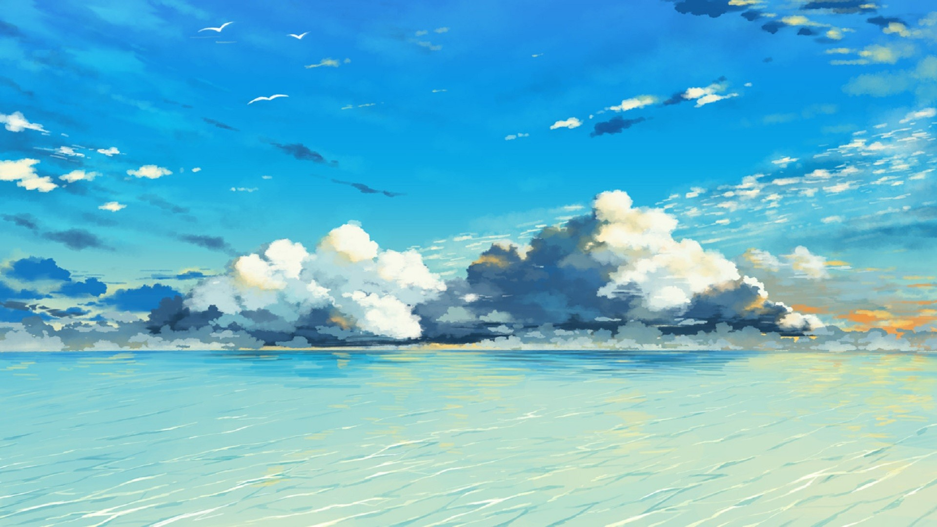 Cute Anime Watercolor Wallpapers Water Sky Clouds Painting Wallpaper Art And Paintings