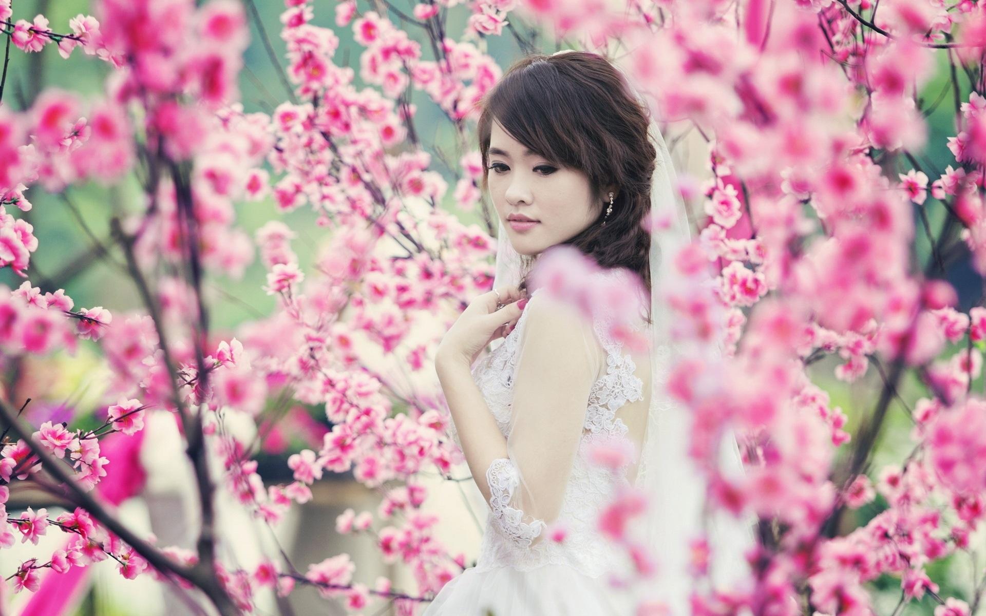 Wallpaper Of Beautiful Chinese Girl Asian Girl Garden Spring Pink Flowers Wallpaper Girls